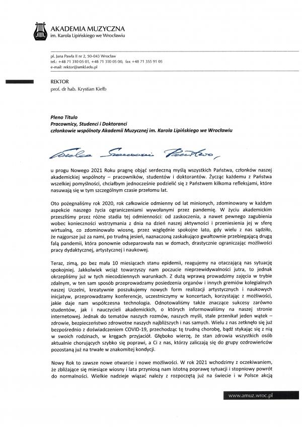List JM Rektora do P.T. członków wspólnoty AMKL z dnia 7 stycznia 2021 r.