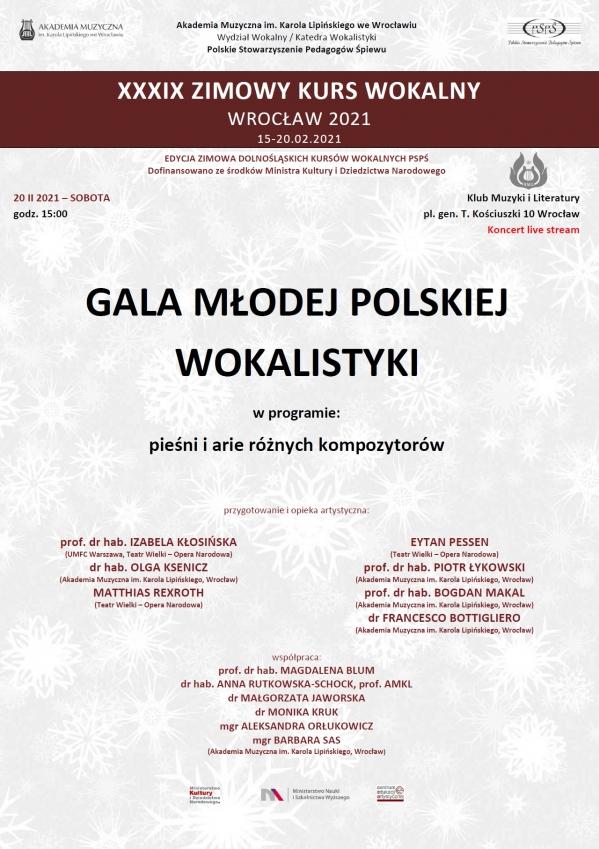 Gala młodej polskiej wokalistyki - koncert finałowy w ramach XXXIX Zimowego Kursu Wokalnego