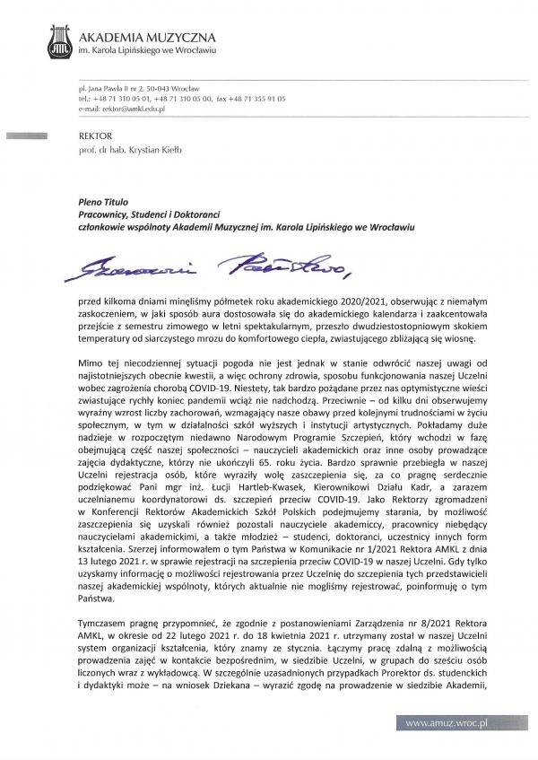 List JM Rektora do P.T. członków wspólnoty AMKL z dnia 24 lutego 2021 r.