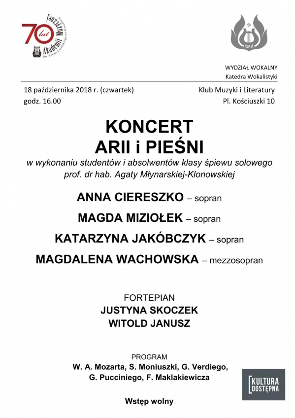Koncert ARII i PIEŚNI w wykonaniu studentów i absolwentów klasy śpiewu solowego prof. dr hab. Agaty Młynarskiej-Klonowskiej
