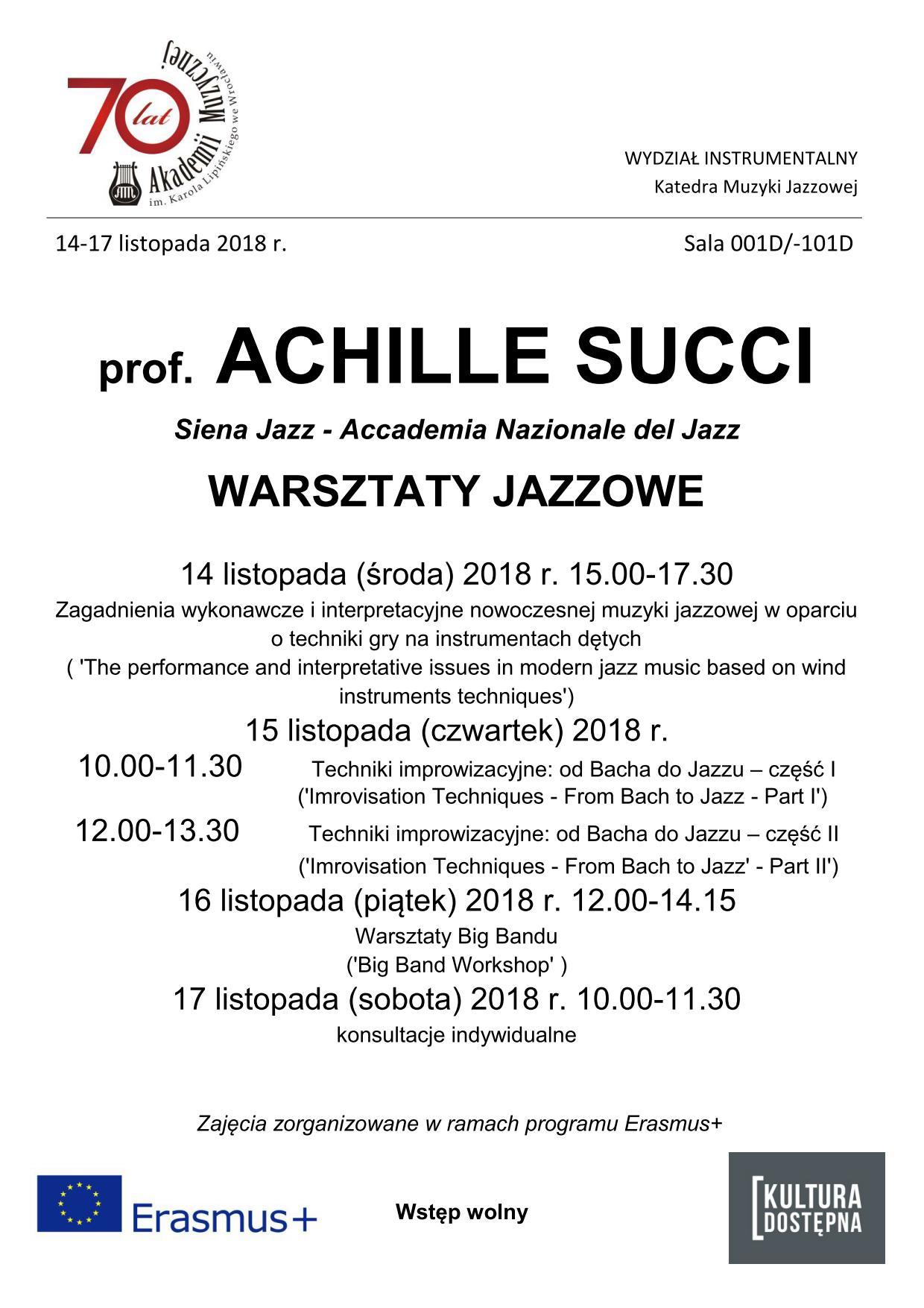 Warsztaty jazzowe - prof. Achille Succi
