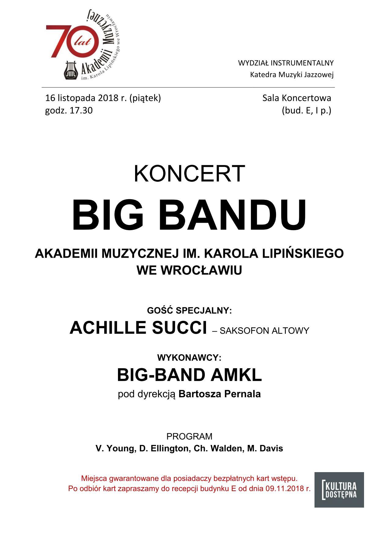 Koncert Big Bandu AMKL z Achille Succi
