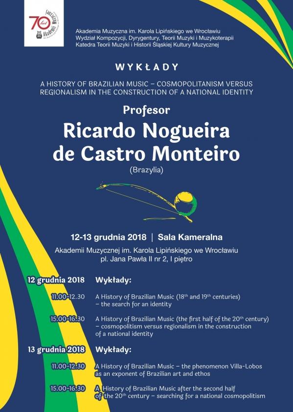 Wykłady poświęcone historii muzyki brazylijskiej - Profesor Ricardo Nogueira de Castro Monteiro