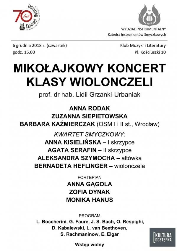 Mikołajkowy koncert klasy wiolonczeli prof. dr hab. Lidii Grzanki-Urbaniak