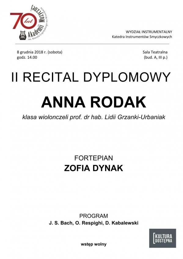 II recital dyplomowy - Anna Rodak (wiolonczela)