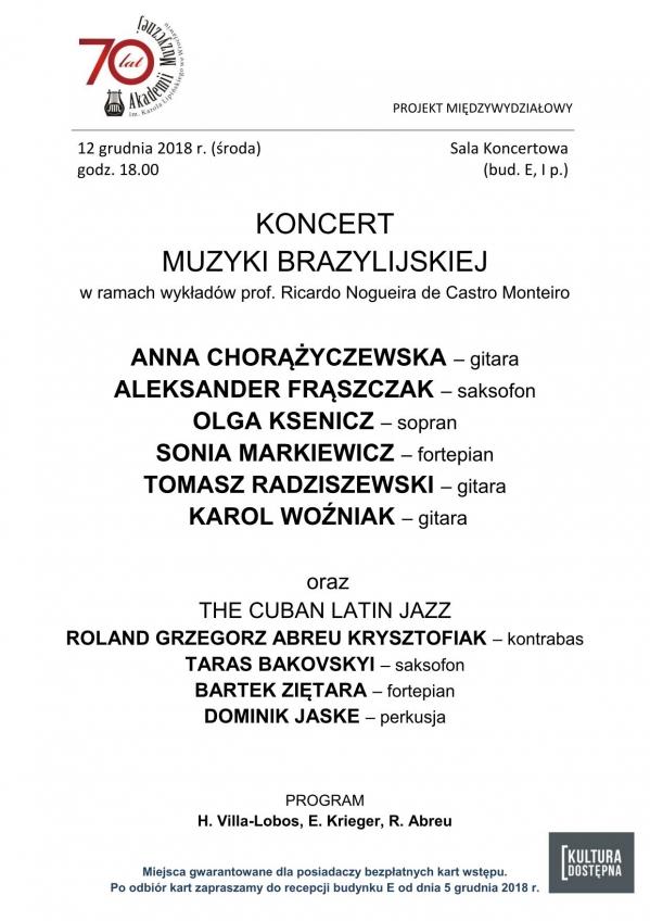 Koncert muzyki brazyliskiej w ramach wykładów prof. Ricardo Nogueira de Castro Monteiro