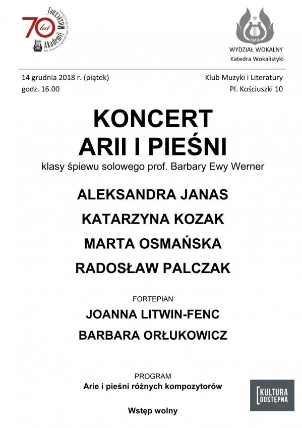 Koncert arii i pieśni w wykonaniu studentów i absolwentów klasy śpiewu solowego prof. Barbary Ewy Werner