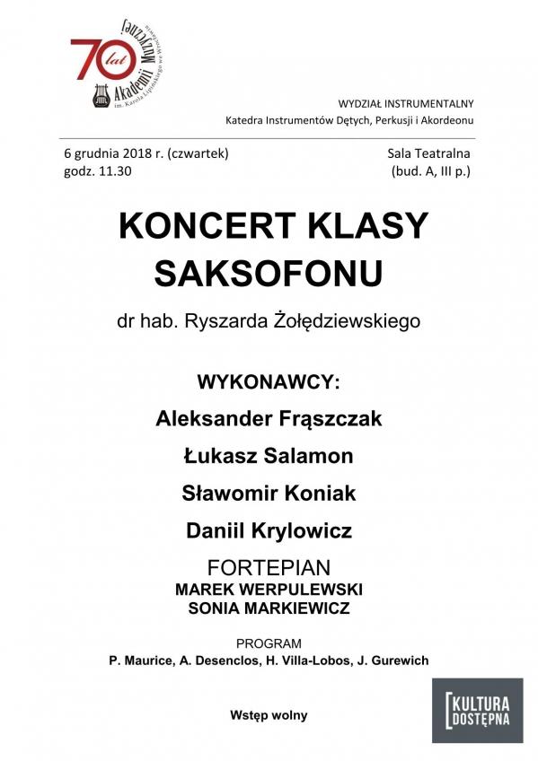 Koncert klasy saksofonu dr hab. Ryszarda Żołędziewskiego