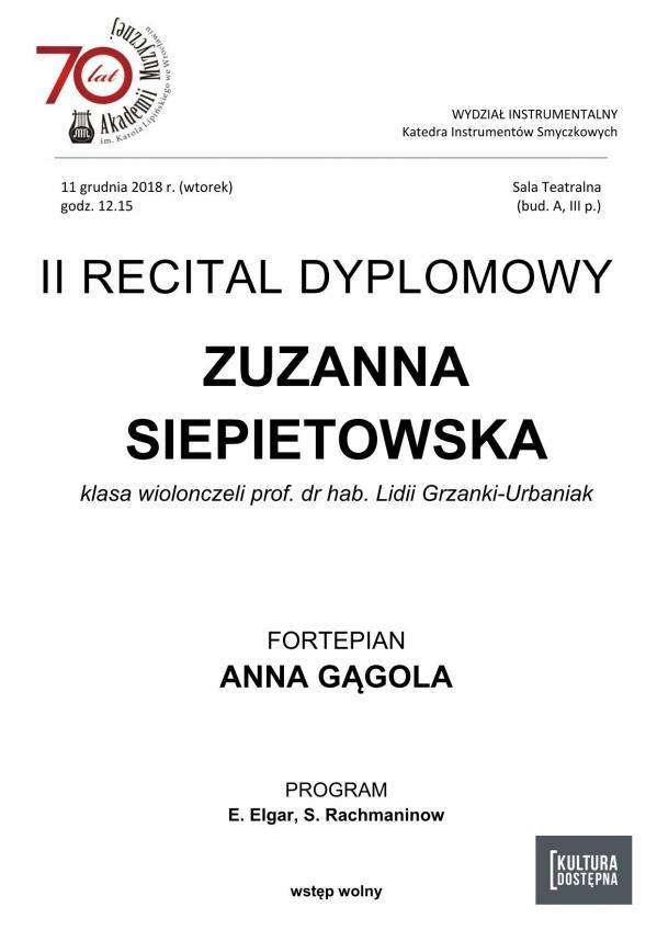 II recital dyplomowy - Zuzanna Siepietowska (wiolonczela)