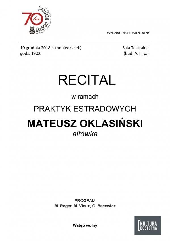Recital w ramach praktyk estradowych - Mateusz Oklasiński (altówka)