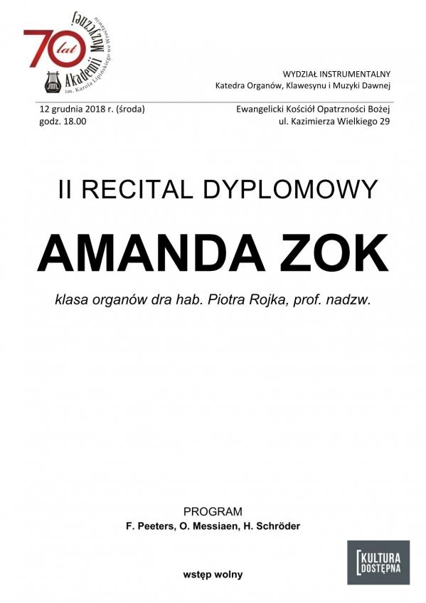 II recital dyplomowy - Amanda Zok (organy)