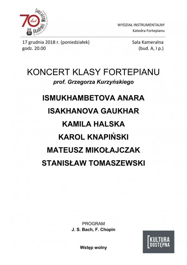Koncert klasy fortepianu prof. Grzegorza Kurzyńskiego