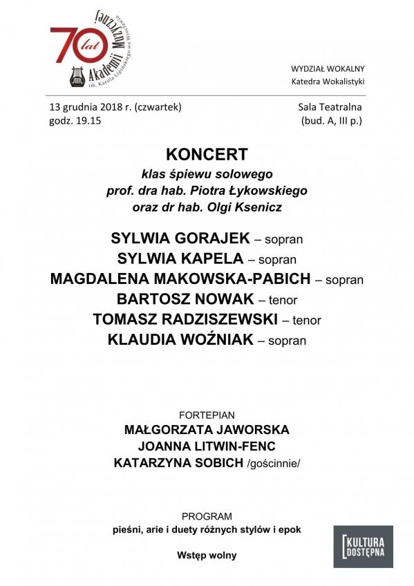 Koncert klas śpiewu solowego prof. dra hab. Piotra Łykowskiego oraz dr hab. Olgi Ksenicz