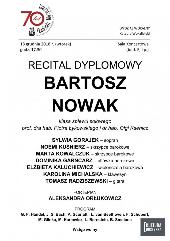 Recital dyplomowy - Bartosz Nowak (śpiew solowy)