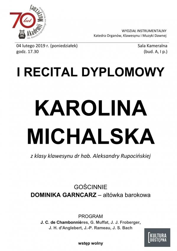 I recital dyplomowy - Karolina Michalska (klawesyn)