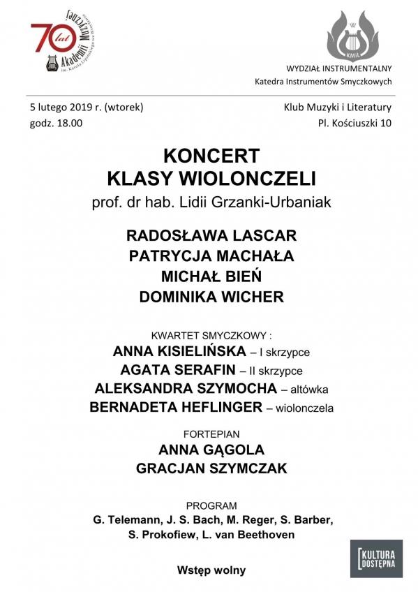 Koncert klasy wiolonczeli prof. dr hab. Lidii Grzanki-Urbaniak