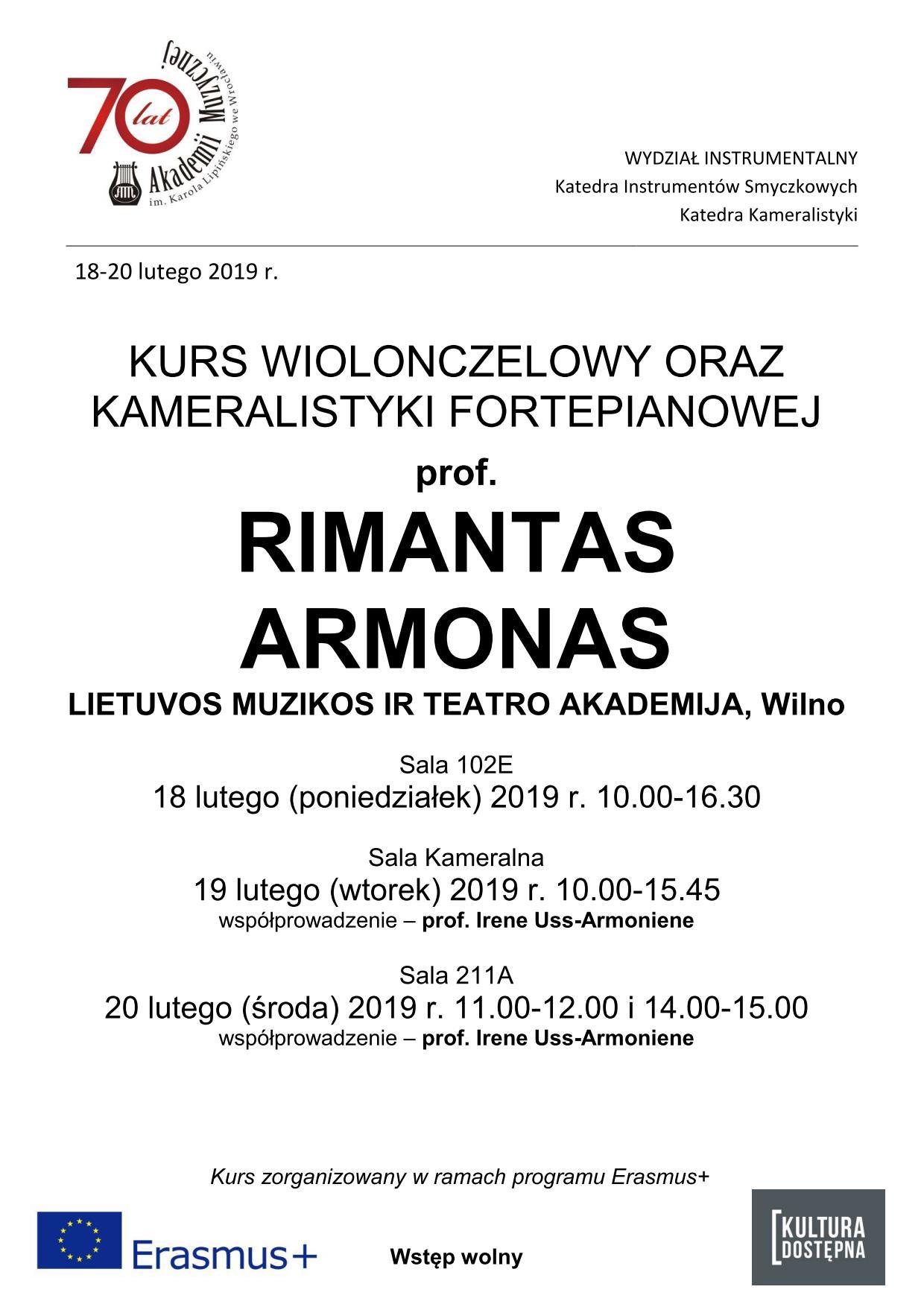 Kurs wiolonczelowy oraz kameralistyki fortepianowej - prof. Rimantas Armonas