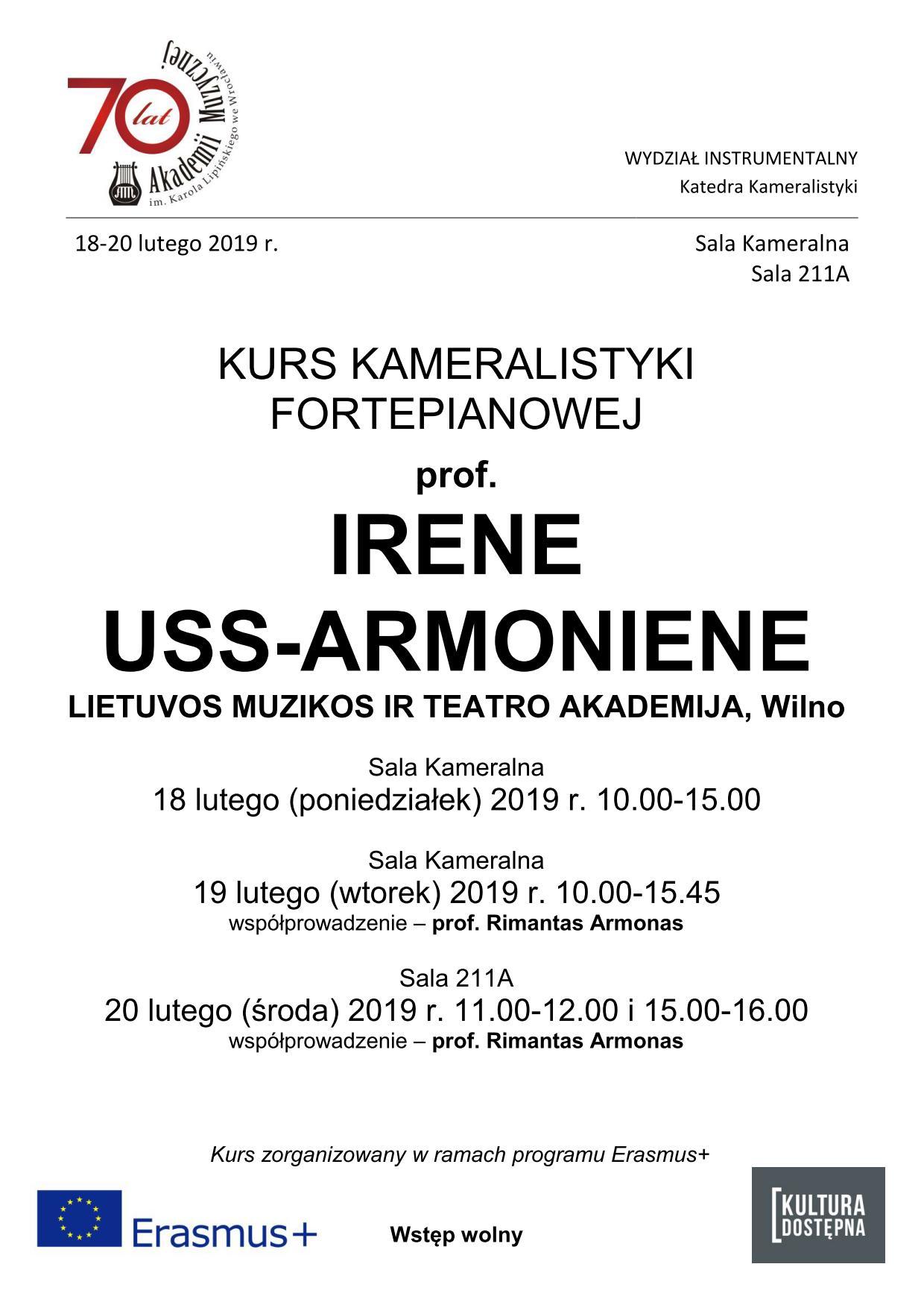 Kurs kameralistyki fortepianowej - prof. Irene Uss-Armoniene