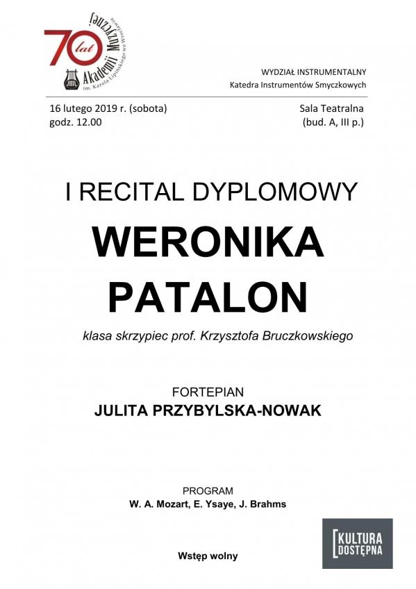 I recital dyplomowy - Weronika Patalon (skrzypce)