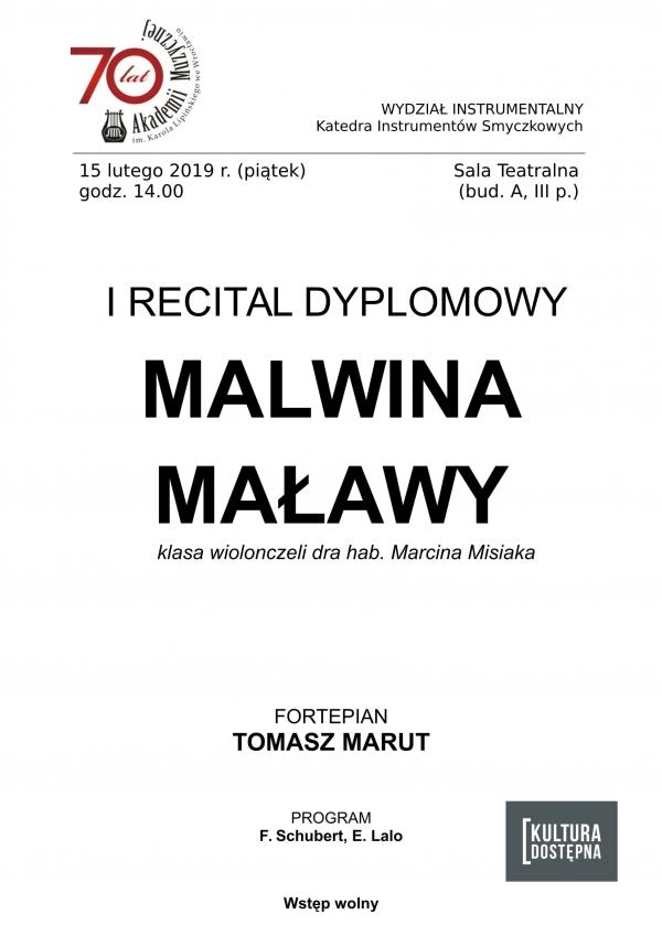 I recital dyplomowy - Malwina Maławy (wiolonczela)