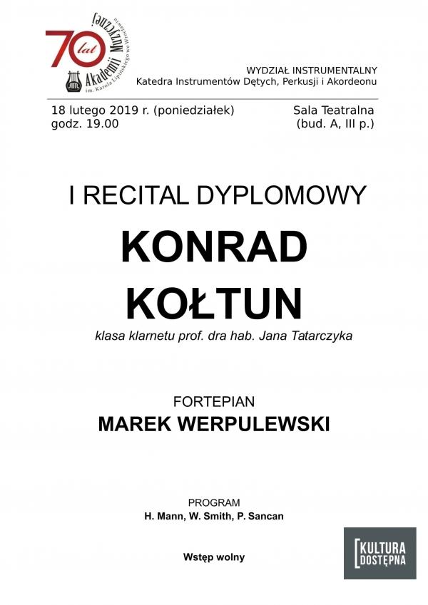 I recital dyplomowy - Konrad Kołtun (klarnet)