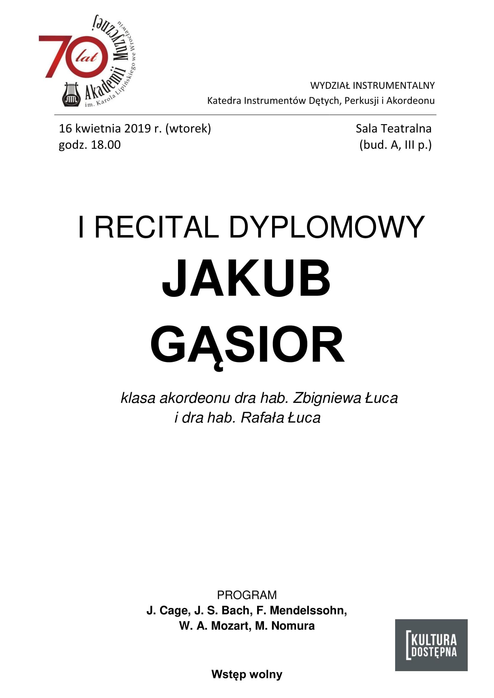 I recital dyplomowy - Jakub Gąsior (akordeon)