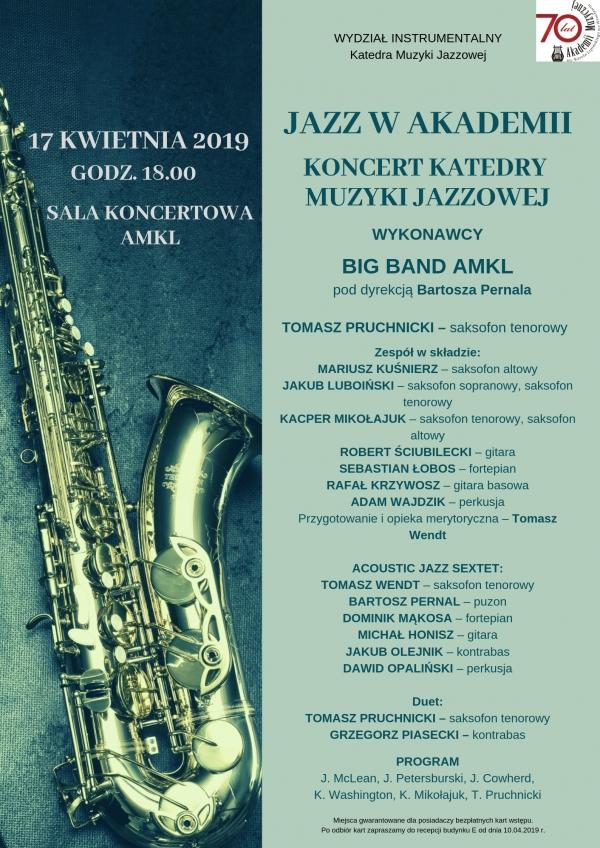 JAZZ W AKADEMII - Koncert Katedry Muzyki Jazzowej