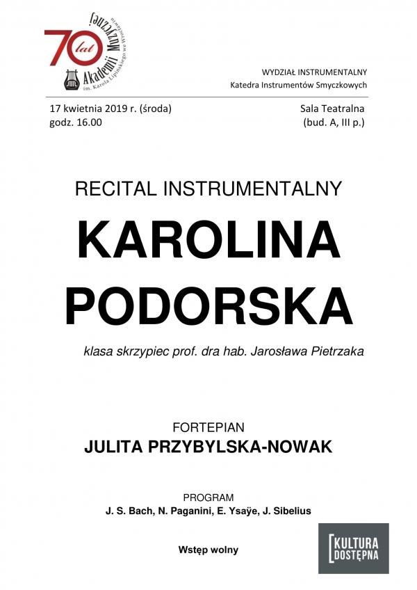 Recital instrumentalny - Karolina Podorska (skrzypce)
