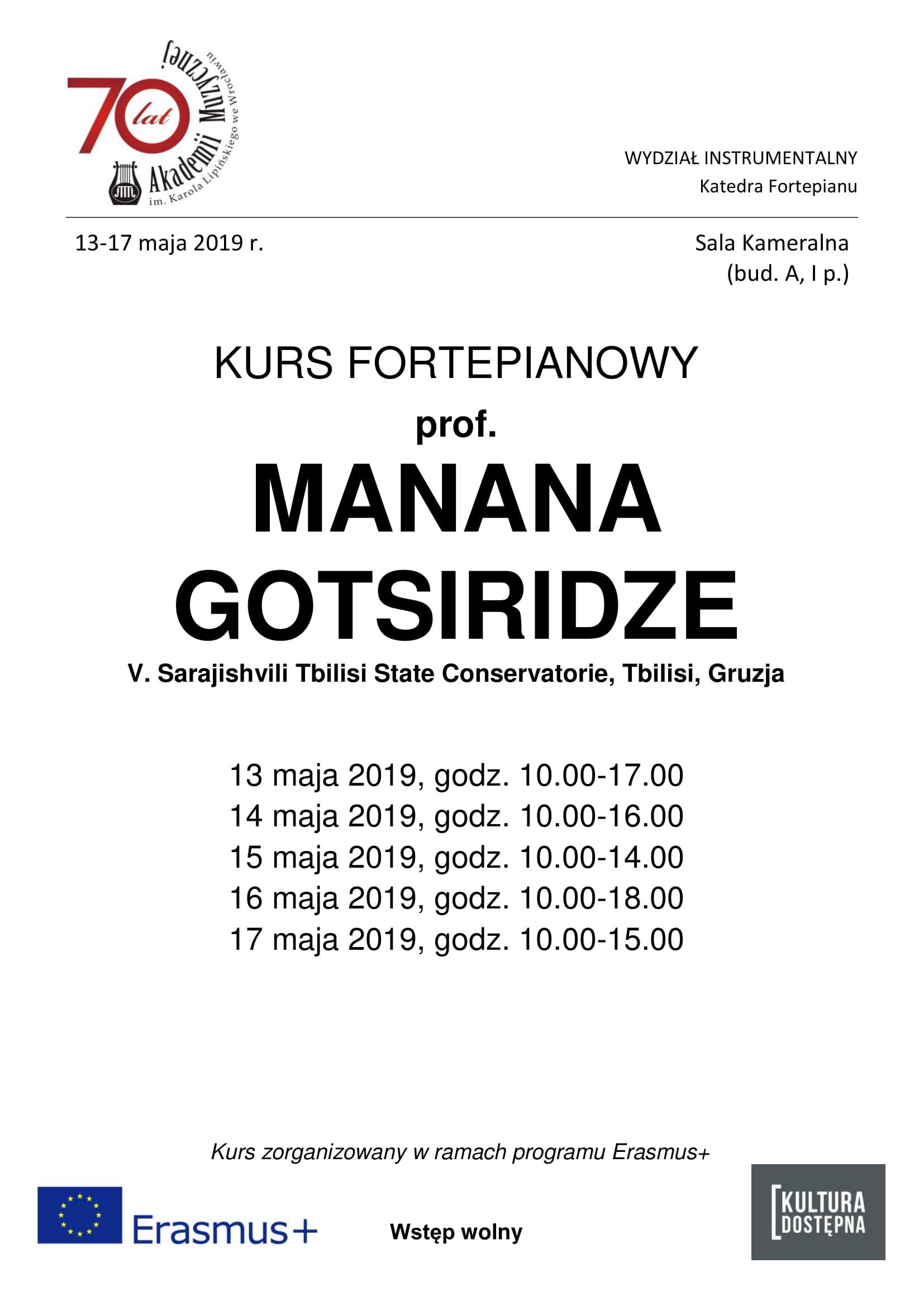 Kurs fortepianowy - prof. Manana Gotsiridze