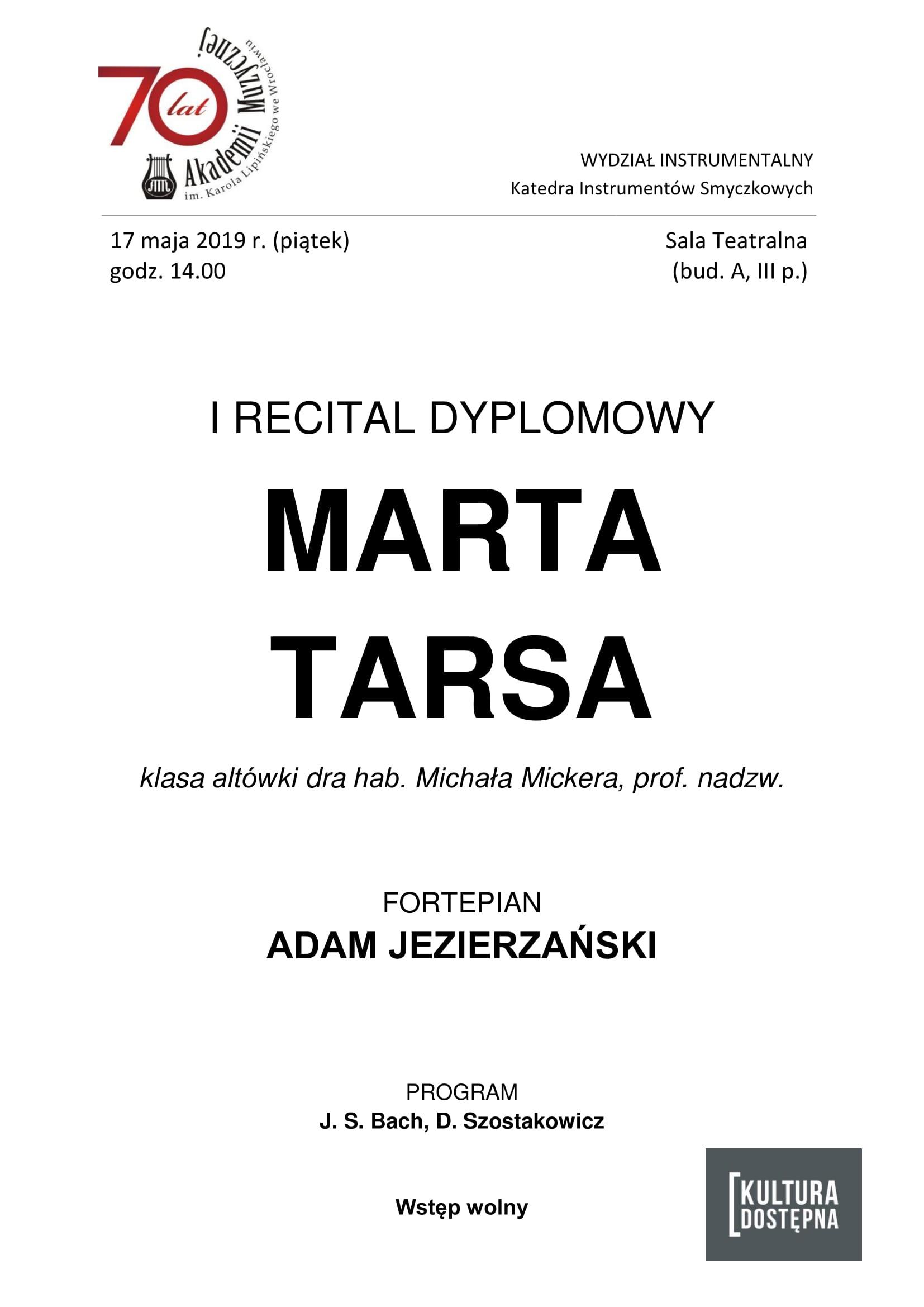 I recital dyplomowy - Marta Tarsa (altówka)