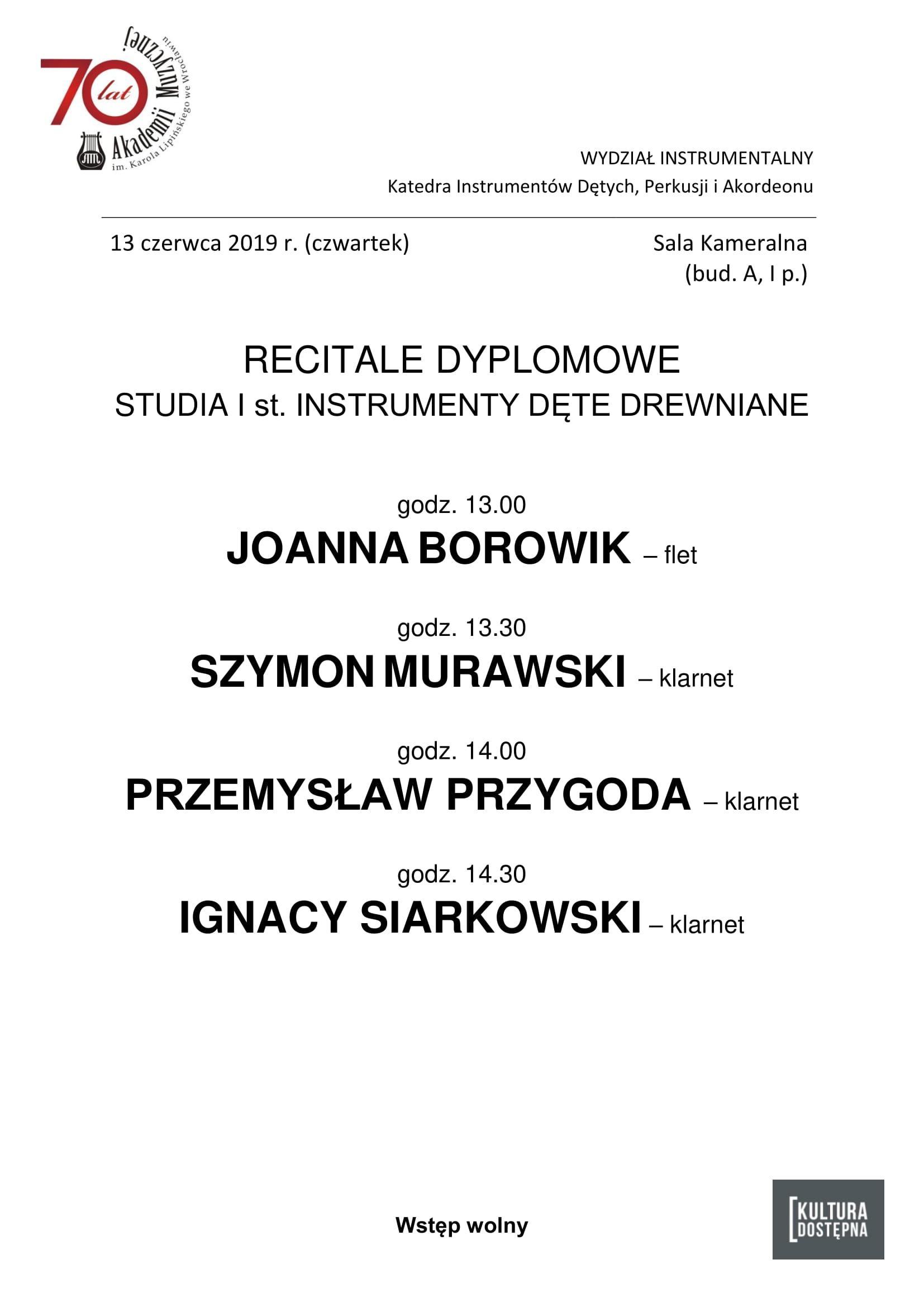 Recitale dyplomowe - studia I stopnia Instrumenty Dęte Drewniane