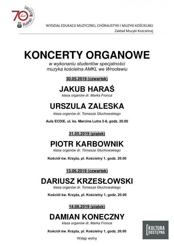 Koncerty organowe w wykonaniu studentów specjalności muzyka kościelna