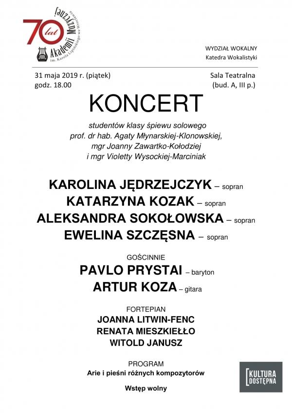 Koncert studentów klasy śpiewu