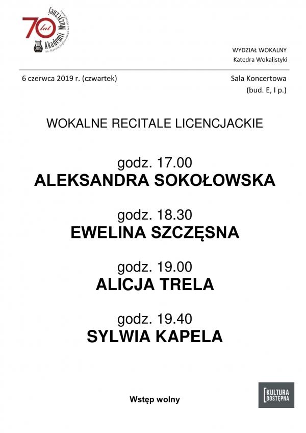 Wokalne recitale licencjackie