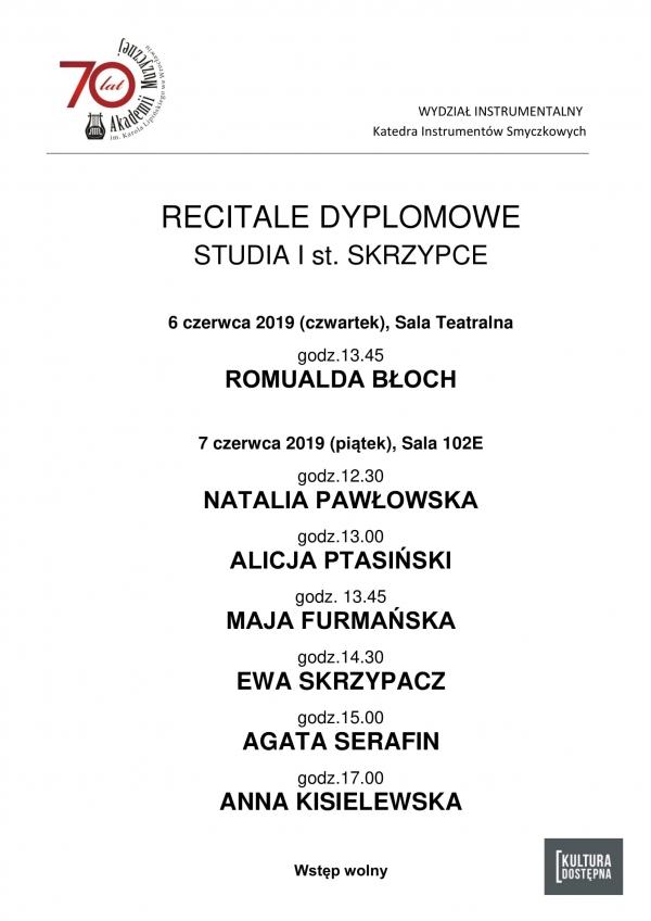 Recitale dyplomowe - skrzypce