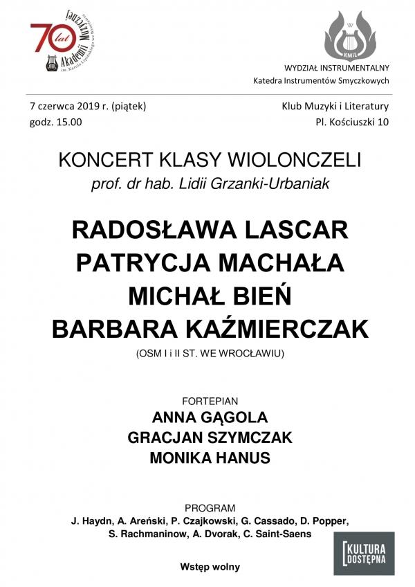 Koncert klasy wiolonczeli