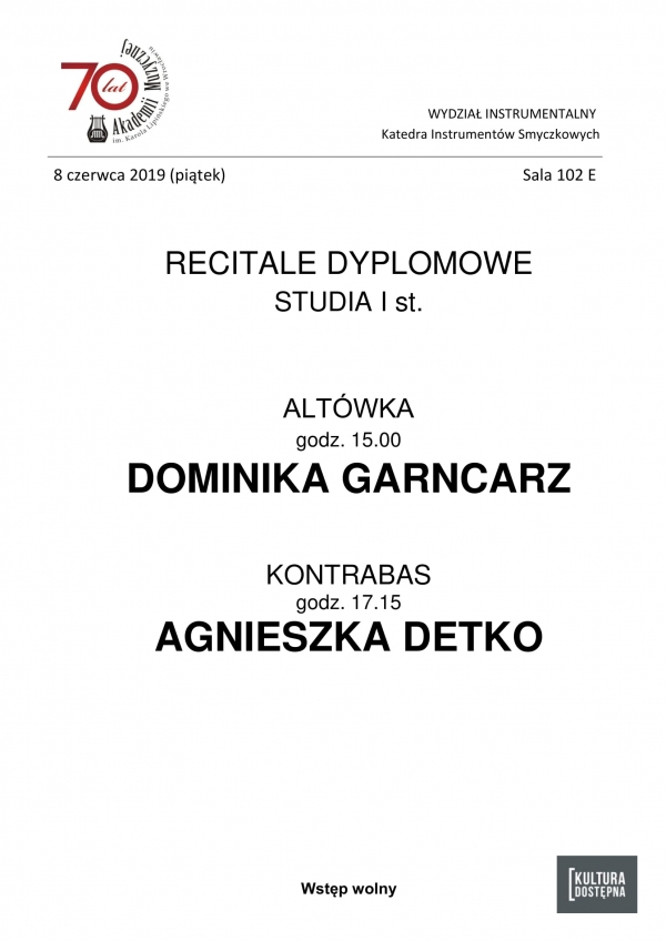 Recitale dyplomowe - altówka i kontrabas