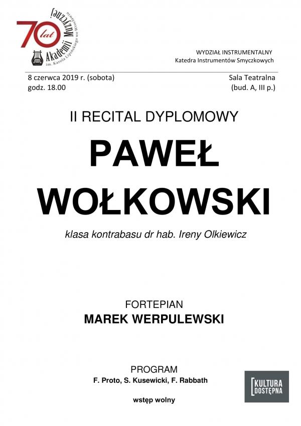 II recital dyplomowy - Paweł Wołkowski (kontrabas)