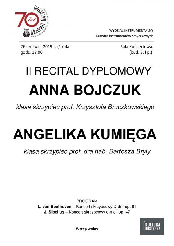 II recital dyplomowy - Anna Bojczuk i Angelika Kumięga (skrzypce)