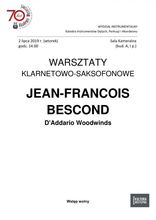 Warsztaty klarnetowo-saksofonowe Jean-Francois Bescond