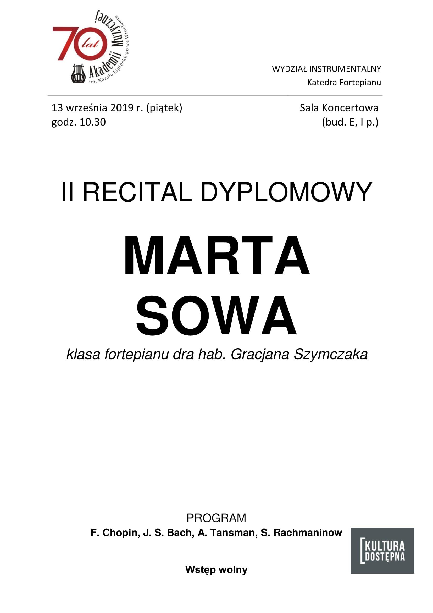II recital dyplomowy - Marta Sowa (fortepian)