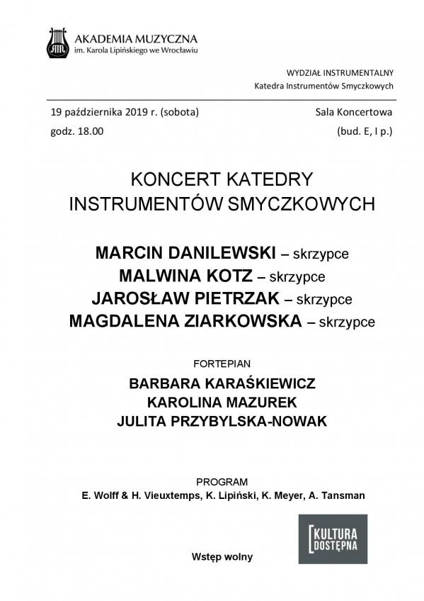 Koncert Katedry Instrumentów Smyczkowych