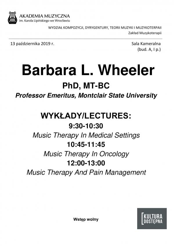 Barbara L. Wheeler - wykłady