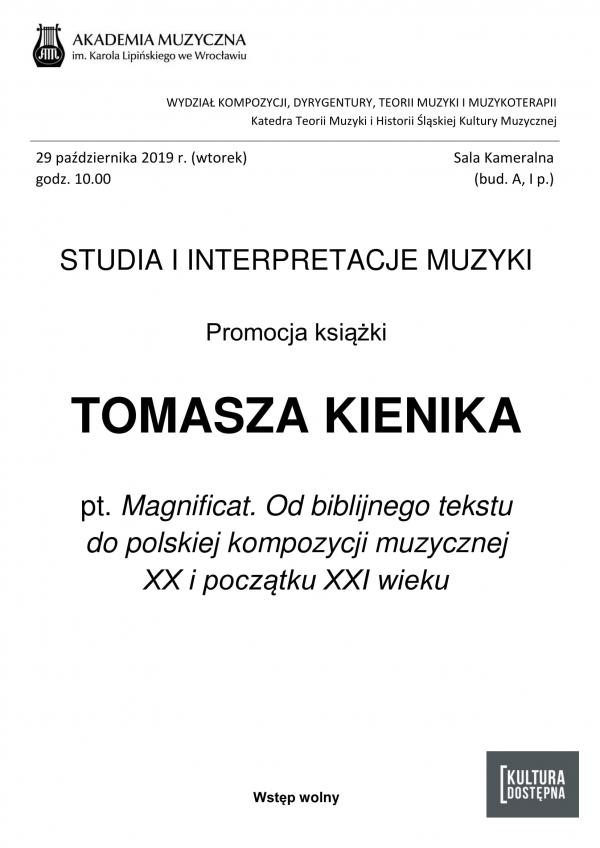 Studia i interpretacje muzyki - promocja książki Tomasza Kienika