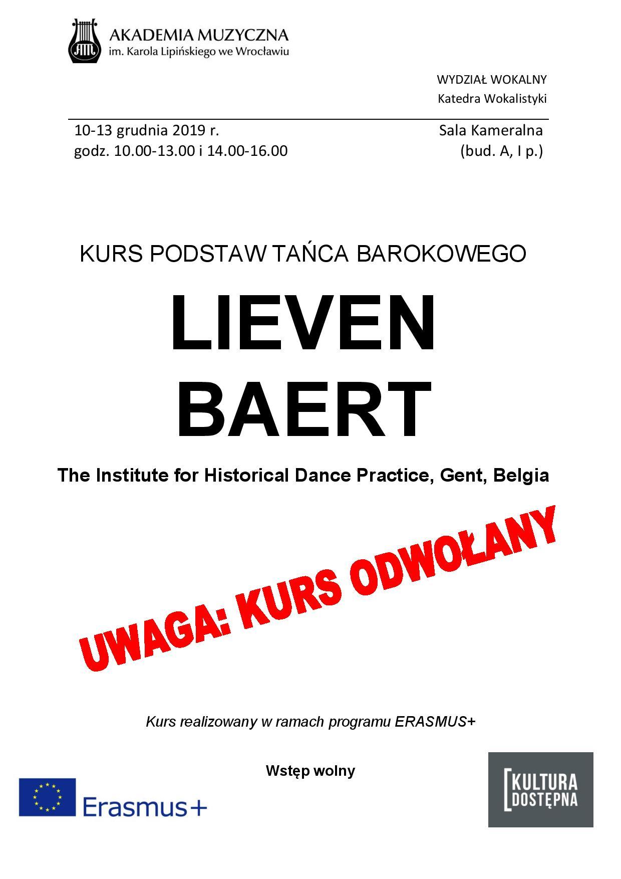 Kurs Podstaw Tańca Barokowego - Lieven Baert