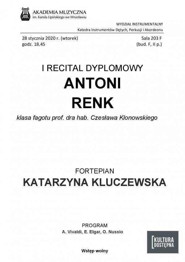 Antoni Renk - I Recital dyplomowy