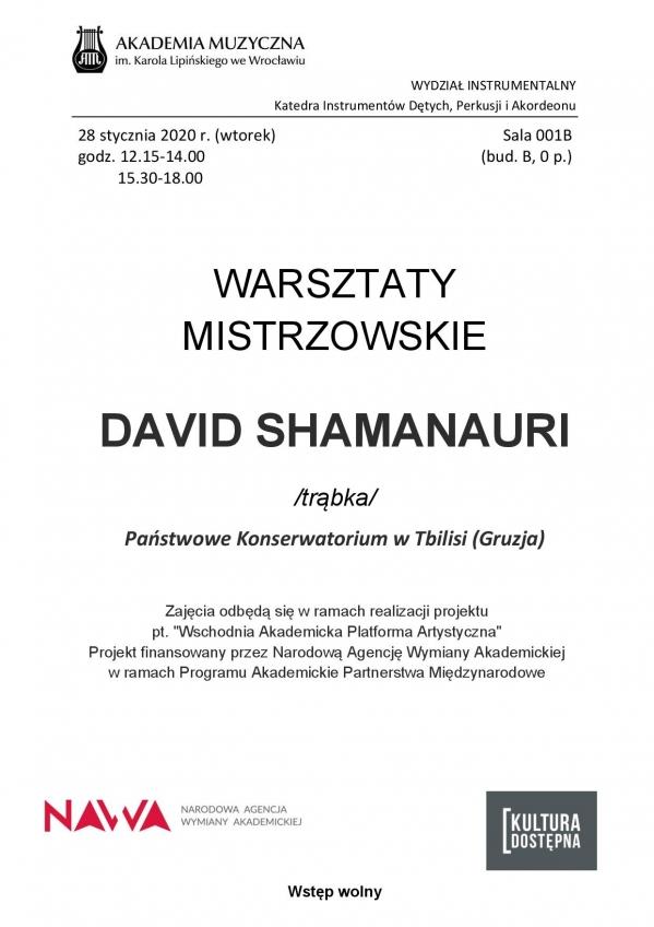 Warsztaty Mistrzowskie - David Shamanauri (Gruzja)