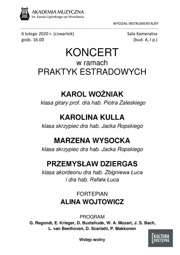 Koncert w ramach praktyk estradowych