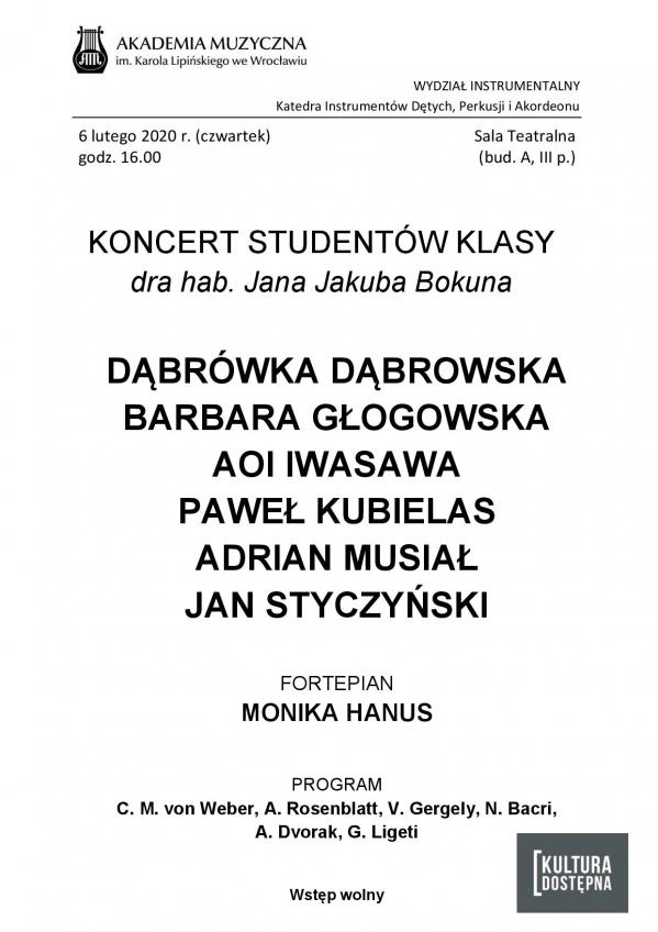 Koncert studentów klasy klarnetu dra hab. Jana Jakuba Bokuna