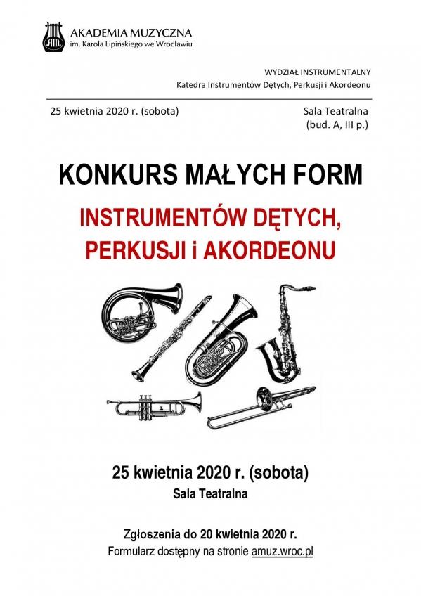 Konkurs Małych Form - instrumentów dętych, perkusji i akordeonu